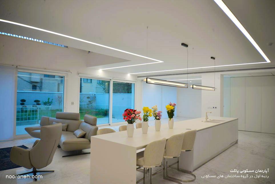 آپارتمان مسکونی پاکت - رتبه اول در گروه ساختمان های مسکونی از طراحی تا اجرا نورانه چراغ خطی لاین